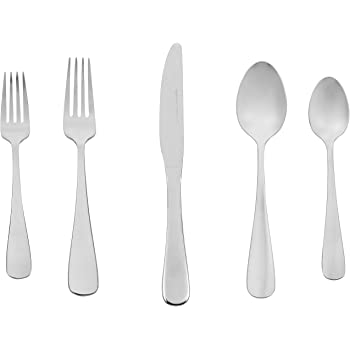 AmazonBasics 20-Piece Stainless Steel Flatware Silverware Set with Round Edge, Service for 4