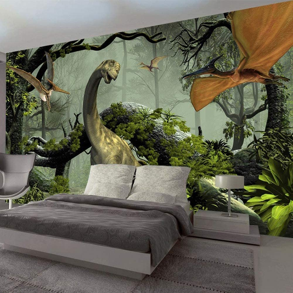 WANGC 3D Stereo Dinosaur Max 81% OFF Theme Large Fores Primitive Wall Murals Time sale