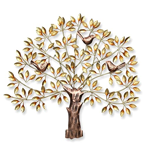 2a4bba9fca Collectible India Metal Handmade Golden Tree of Wisdom and Life Wall  Hanging Art Decor Sculpture with