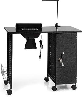 Giantex Manicure Nail Table Steel Frame, Nail Beauty Technician Desk Workstation w/Electric Downdraft Vent, Wrist Rest, 5 Removable Drawers, Adjustable Lamp, Nail Art Desk Salon Table (Brushed Black)