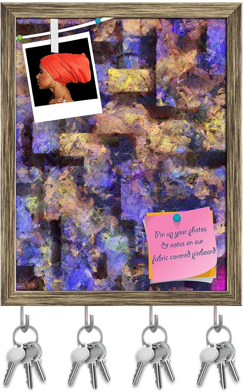 Artzfolio Digital Abstract Artwork Key Holder Hooks   Notice Pin Board   Antique golden Frame 12 X 15.2Inch