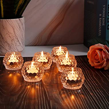 YWHL Glass Votive Tealight Candle Holders Set of 6, Round Clear Decorative Candle Holder for Table, Home Party Wedding Decor