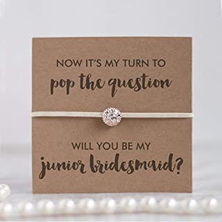 Will you be my junior bridesmaid bracelet, wedding gifts for junior bridesmaid proposal gifts Ivory