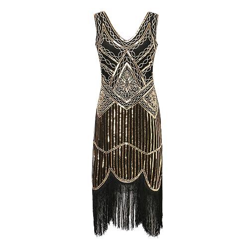 986883501379 S-3xl Women s 1920s Gatsby Cocktail Sequin Beaded V-Neck Fringed Tassels  Hem Flapper