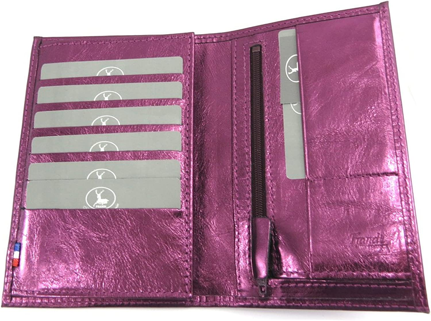 Leather wallet 'Frandi'eggplant (+ cards).