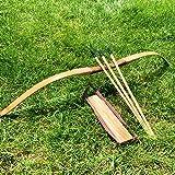 NO-LOGO Lixia-Gong, Bambú Regalo de los niños de Madera del Brazo de la Guardia Arco Arcos y Flechas con 3 Seguridad Flecha carcaj fijado for el Tiro con Arco al Aire Libre Caza Juguetes Kid