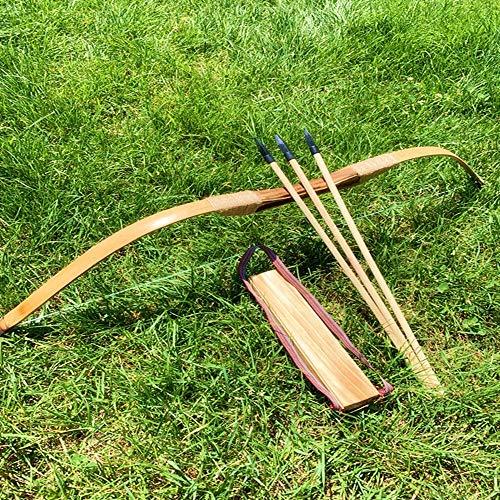 NO LOGO XBF-arcs, Bambou en Bois Bow Enfants arcs et des flèches avec 3 Sécurité Flèche Quiver Bras Garde Set for extérieur Tir à l'arc Chasse Jouets Cadeau for Enfants