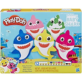 Play-Doh Pinkfong Baby Shark Set with 12 Non-Toxic Play-Doh Cans