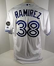 2018 Toronto Blue Jays Carlos Ramirez #38 Game Issued White Jersey BLU1335 - Game Used MLB Jerseys