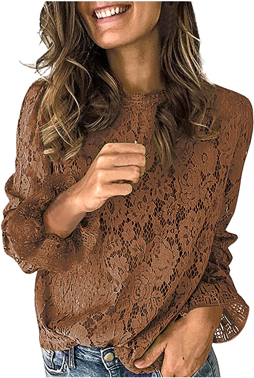 Women's Lace Hollow Price reduction Out Shirt Sleeve It is very popular Tunic Fashion Crewneck Long