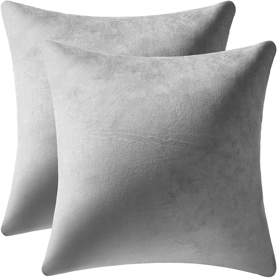 Decorative Pillow Cases 24x24 Light-Grey: 2 Pack Cozy Soft Velvet Square Throw Pillow Covers for Farmhouse Home Decor, DEZENE