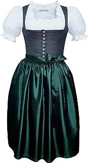 Kaiser Franz Josef Dirndl Mieder Trachten-Kleid Miederdirndl hochwertig Trachtenkleid Balkonett Dirndlkleid anthrazit grau dunkelgrau dunkelgrün mit TAFT Schürze grün Made in Austria