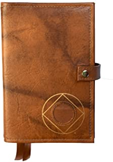 Double Narcotics Anonymous NA Basic Text & It Works, How & Why Book Cover Medallion Holder Tan