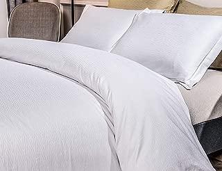 PHF 100% Cotton Jacquard Duvet Cover Set Bedding Soft Lightweight for Summer King Size White