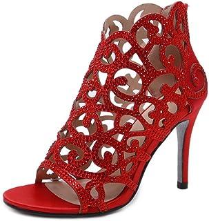 Stupmary النساء مضخات أحذية الزفاف كريستال عالية الكعب حجر الراين قطع الرمز البريدي رقيقة الكعب أحذية الزفاف, (احمر), 38 EU