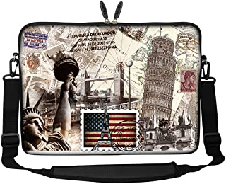 Meffort Inc 17 17.3 inch Neoprene Laptop Sleeve Bag Carrying Case with Hidden Handle and Adjustable Shoulder Strap World Landmarks