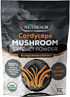 Cordyceps Mushroom 8:1 Extract Powder - USDA Certified Organic - High Performance Energy Supplement - Stamina, Endurance, Oxygen Utilization - Whole Mushrooms/No Fillers - 4oz (113g)
