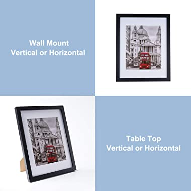 11x14 Picture Frame Set of 6, Display 8x10 Pictures with Mat or 11x14 without Mat for Tabletop Display and Wall Hanging, Clas