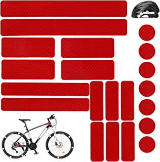 21PCS Reflective Stickers Kit, White Universal Adhesive Decals for Motorcycle Helmets Hard Hat Bicycle Stroller Wheelchair Buggy Scooter Toys Car Bumper Vinyl Window Night Visibility Safety