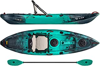 Vibe Kayaks Yellowfin 100 10 Foot Angler Recreational Sit On Top Light Weight Fishing Kayak (Caribbean Blue) with Paddle and Adjustable Hero Comfort Seat - Caribbean Blue Evolve Paddle