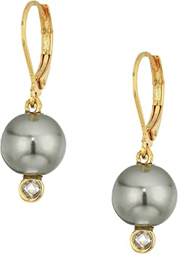 Cole Haan - Pearl Drop Earrings with Cubic Zirconia Accents Lever Back Closure
