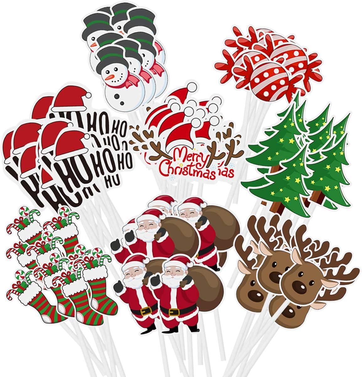 Amosfun 72PCS Christmas Cupcake Toppers Cake Decoration Santa Claus Tree Snowman Sock Candy Theme Party Cake Toppers Picks Christmas Decoration Supplies