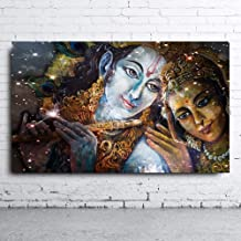 SoulSpaze Embelish Large Size Krishna and Radha Buddha HD Canvas Oil Paintings Wall Art Pictures with Frame (60cm x 90cm x1)