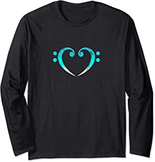 Bass, Clef, Heart, I LOVE, Music, Bassist, Musician, Band, Long Sleeve T-Shirt
