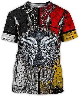 Nordic Viking T-Shirt,Vintage Men's Summer 3D Digital Printed Odin Runes Symbol T-Shirt Scandinavian Round Neck Short -Sleeve Tops,Warrior skull,5XL