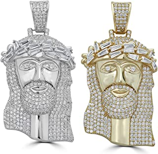 Harlembling Solid 925 Sterling Silver Iced Out Jesus Piece Pendant - Men's - Great for Any Chain! ICY Baguette CZ Bust Down