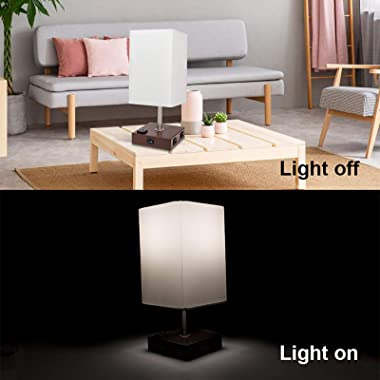 DEEPLITE Set of 2 Table Lamp / Bedside Lamp - 2 USB Charging Ports and 2-Prong/3-Prong AC Outlets - Perfect for Bedrooms, Nig
