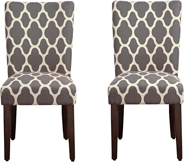 HomePop Parsons Classic Upholstered Accent Dining Chair Set Of 2 Grey And Cream Geometric