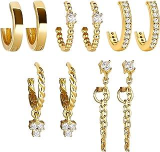5 Pairs Gold Silver Huggies Hoop Earrings Set for Women...
