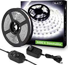 Lepro LED Strip Light White, 16.4ft Dimmable Vanity Lights, 6000K Super Bright LED Tape Lights, 300 LEDs 2835, Strong 3M Adhesive, Suitable for Home, Kitchen, Under Cabinet, Bedroom, Daylight White
