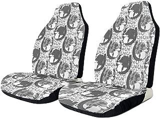 Dog Grey Australian Shepherd Dog Themed Car Vehicle Front Chair Seat Covers Protector Auto SUV Rv Driver Uv Trucks Women Men Girl Boy Set of 2 Accessories Decorations Decor