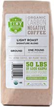 Tiny Footprint Coffee - Organic Signature Blend Light Roast | Ground Coffee | USDA Organic | Carbon Negative | 16 Ounce (Pack of 2)