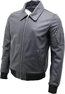 Infinity Men's A2 Navy Blue Cowhide Analine Leather Bomber Jacket