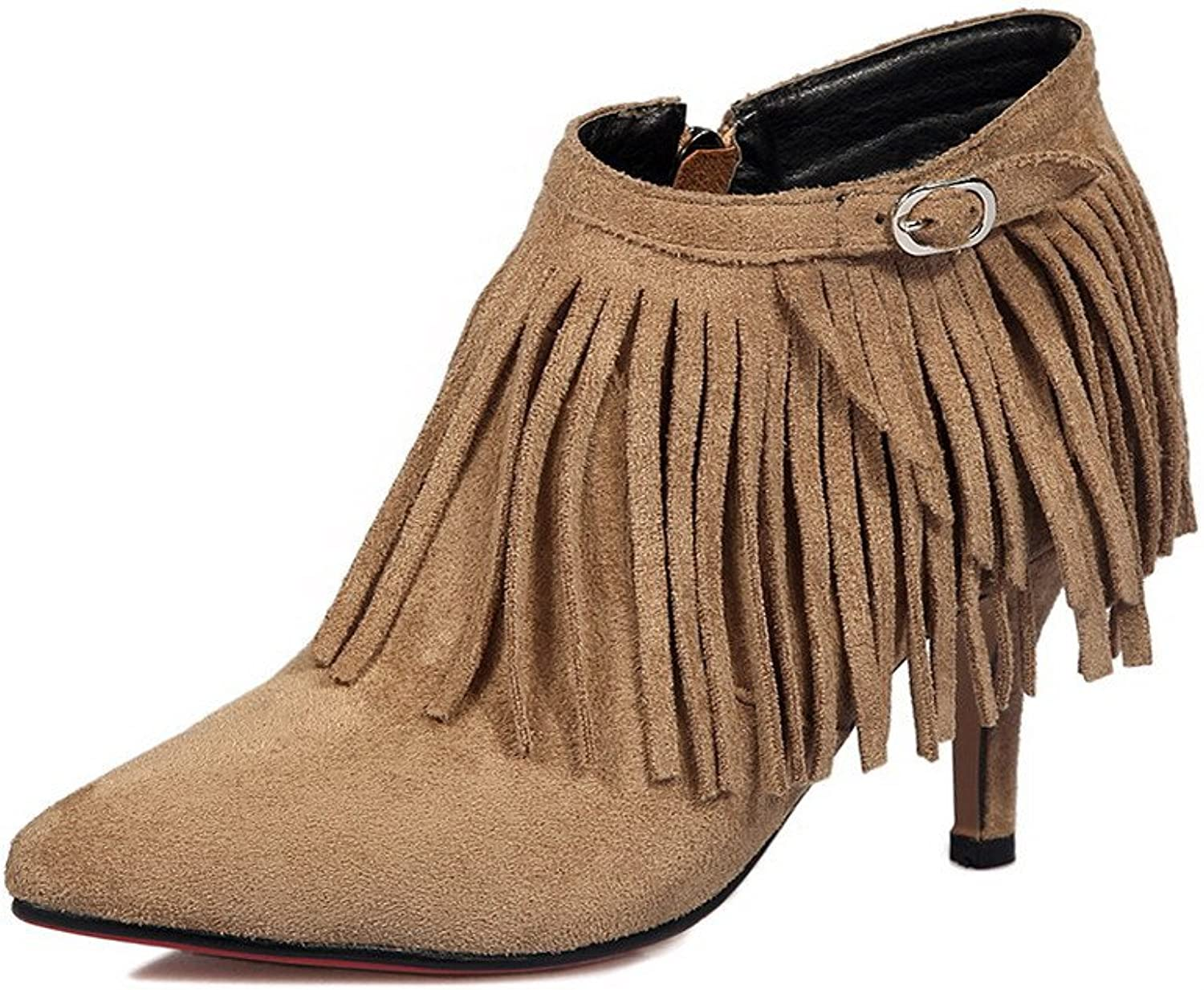 AllhqFashion Women's Pointed Closed Toe Ankle High Spikes Stilettos Fringed Frosted Boots