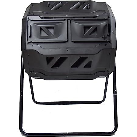 MaxWorks 80699 Garden Compost Bin Tumbler, 42 Gallon Capacity with 2 Chambers Dual Rotating Composting Tumbler , Black
