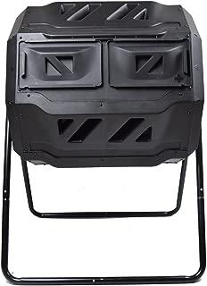 MaxWorks 80699 Garden Compost Bin Tumbler, 42 Gallon Capacity with 2 Chambers Dual Rotating Composting Tumbler