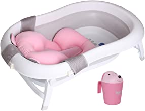 Baby Brielle 3-in-1 Portable Collapsible Infant to Toddler Space Saver Foldable Bath tub - Anti Slip Skid Proof - with Cushion Insert & Water Rinser for Bathing Newborns (Pink)