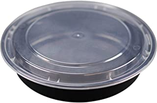 Simply Deliver 9-Inch Deep Round Container with Clear Lid, Microwavable, Black, 150-Count