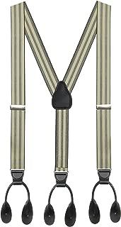 Hold'Em 1 ¼ Fancy Stripes and Solid Suspenders for Men - Y-Back Adjustable Leather Trimmed Button End