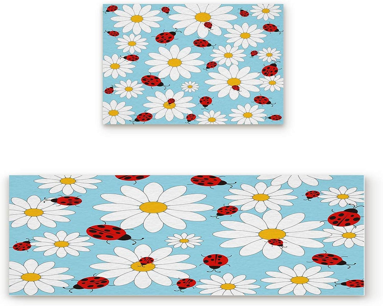 Aomike 2 Piece Non-Slip Kitchen Mat Rubber Backing Doormat White Daisy and Ladybird Runner Rug Set, Hallway Living Room Balcony Bathroom Carpet Sets (23.6  x 35.4 +23.6  x 70.9 )