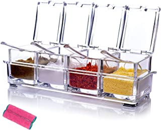 MONICA Clear Seasoning Rack Spice Pots-4 Piece Pure Acrylic Seasoning Box-Storage Container Condiment Jars-Cruet with Cove...