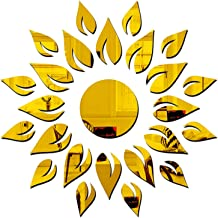 SPIRITED Sun Flames 3D Acrylic Mirror Wall Stickers for Home Color (Golden)