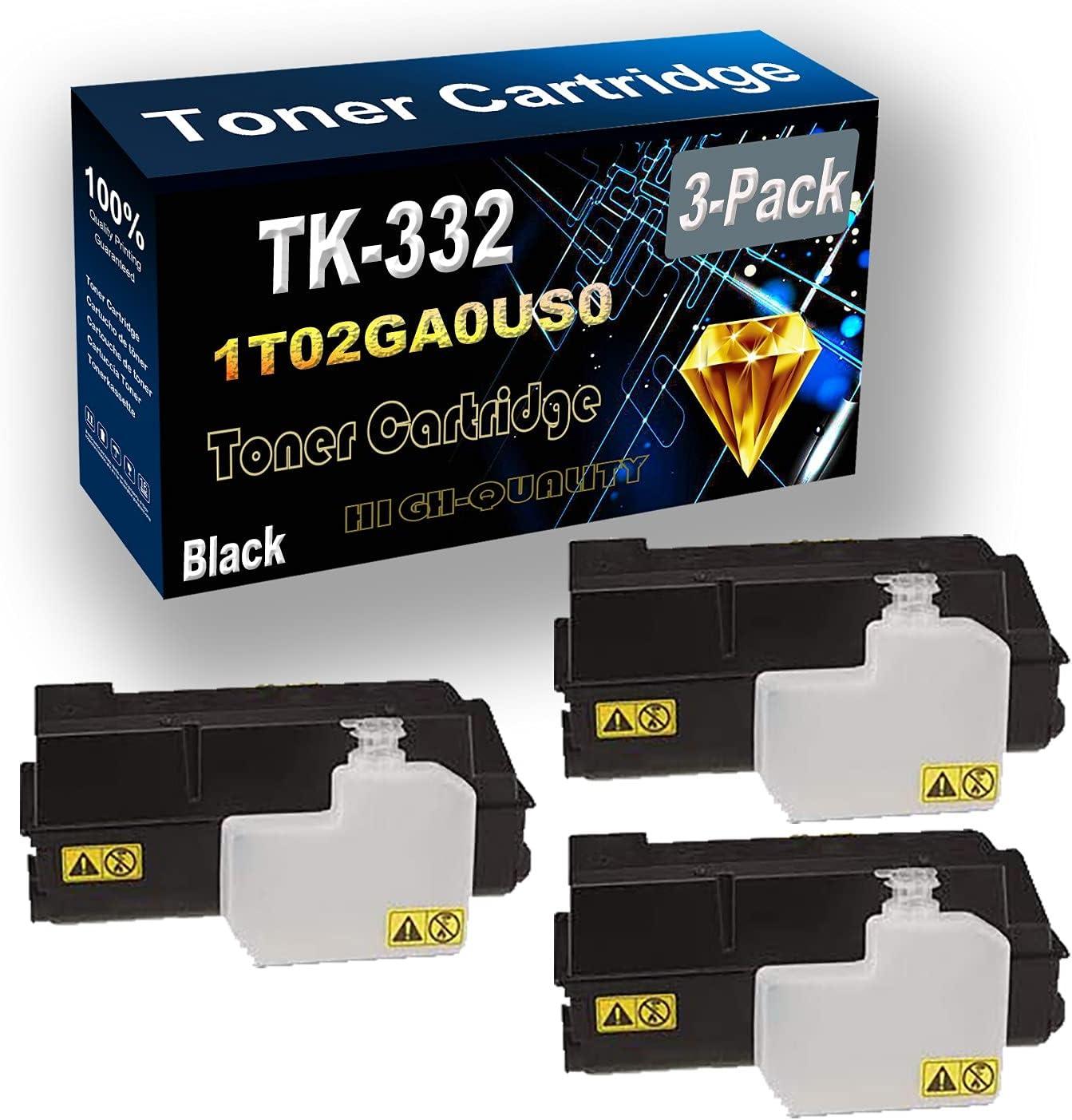Remanufactured Toner Cartridge Replacement for Kyocera TK332 TK-332   1T02GA0US0 for Kyocera FS-4000DN Printer (3-Pack Black)