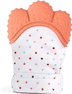 BPA Frei Zahnungshilfe aus umweltfreundlichem Silikon Voliere Knisternder Handschuh f/ür Babys Pink