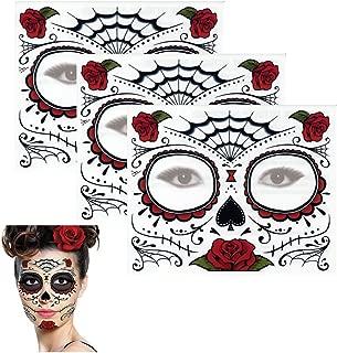 Sugar Skull Temporary Tattoo Rose Design (3 Tattoo Kits)