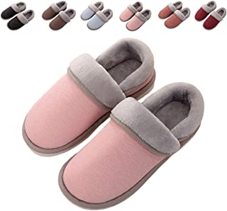 2a4ffcb32f2 OOLIVUPF Womens Mens Cotton Slippers Memory Foam Plush Lining Slip-on House  Shoes Indoor Outdoor
